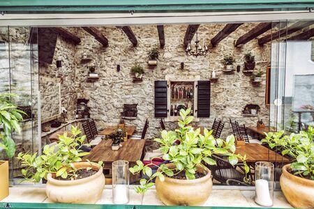 Garden restaurant, Primosten, Croatia. Travel destination. Summer vacation.