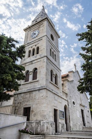 Church of St. George, Primosten, Croatia. Bell tower. Travel destination. Religious architecture.