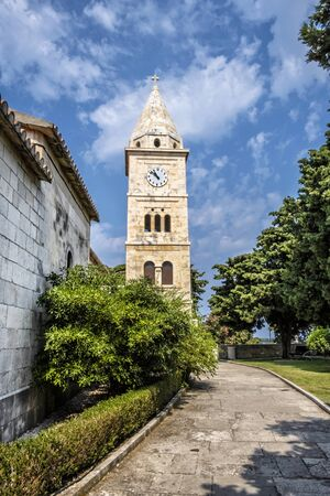 Church of St. George, Primosten, Croatia. Bell tower. Travel destination. Religious architecture. Stock Photo