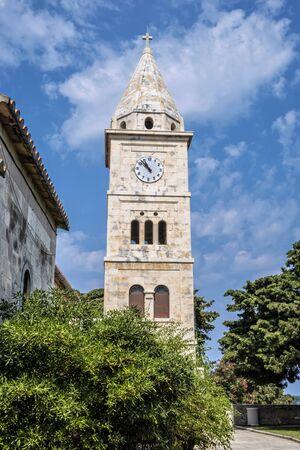 Church of St. George, Primosten, Croatia. Bell tower. Travel destination. Religious architecture.