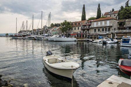 Many boats in harbor, Stomorska, Solta island, Croatia. Travel destination. Summer vacation. Stockfoto