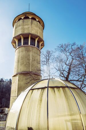 Historical water tower in in Piestany spa area, Slovak republic. Technical architecture.