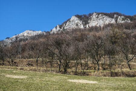 Vrsatske rocks, White Carpathian mountains in Slovak republic. Seasonal natural scene. Hiking theme.
