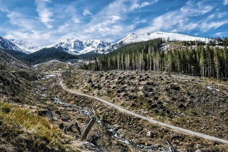 Chopok peak and Demanovska valley in National park Low Tatras mountains, Slovak republic. Hiking theme. Seasonal natural scene.