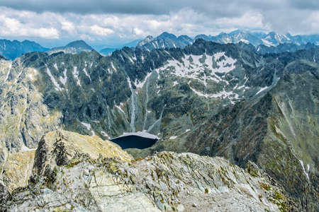 View from Krivan peak in High Tatras mountains, Slovak republic. Hiking theme. Travel destination.