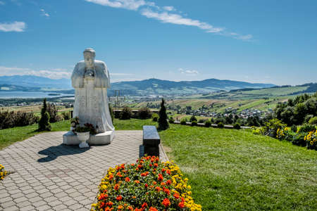 Pope John Paul II, Rio de Klin, Orava region, Slovak republic. Religious architecture. Archivio Fotografico