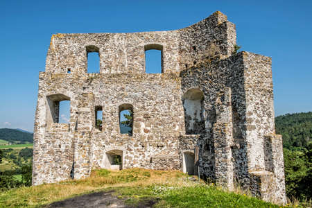 Dobra Niva castle ruins, Slovak republic. Travel destination. Architectural theme.