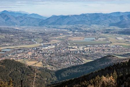 Martin town from Mincol hill, Little Fatra mountains, Slovak republic. Hiking theme. Seasonal natural scene.