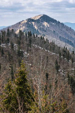 Lysec hill, Big Fatra mountains, Slovak republic. Seasonal natural scene. Hiking theme.