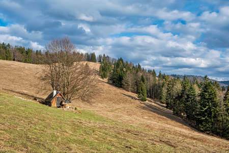Wooden cottage, Big Fatra mountains, Slovak republic. Seasonal natural scene. Travel destination. Hiking theme.