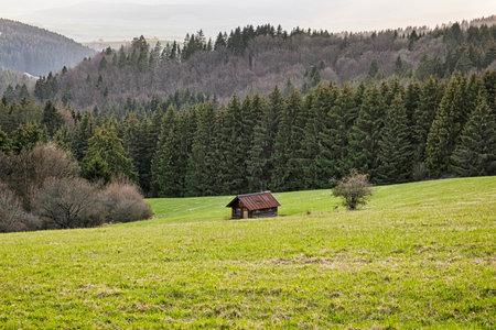 Wooden hut, Big Fatra mountains, Slovak republic. Seasonal natural scene. Travel destination. Hiking theme.