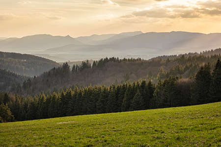 Turiec basin from Big Fatra mountains, Slovak republic. Seasonal natural scene. Travel destination. Hiking theme.