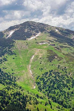 Big Krivan peak, Little Fatra, Slovak republic. Hiking theme. Seasonal natural scene.