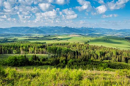 Low Tatras and Liptov basin from Ziar, Slovak republic. Seasonal natural scene. Travel destination.