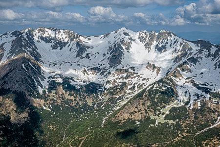 Banikov and Hruba Kopa peaks from Baranec peak, Western Tatras, Slovak republic. Hiking theme. Seasonal natural scene.