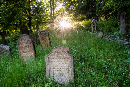 Jewish cemetery with sunrays, Topola village, Slovak republic, Europe. Travel destination. Standard-Bild
