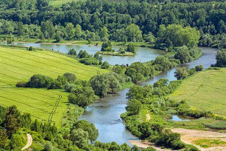 Poprad river scenery from Stara Lubovna castle, Slovak republic. Seasonal nature. Travel destination. Standard-Bild