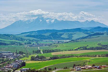 High Tatras mountain range from Stara Lubovna town, Slovak republic. Travel destination. Standard-Bild