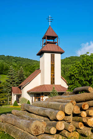 Greek Catholic Church of St. Peter and Paul, Topola village, Slovak republic, Europe. Travel destination.
