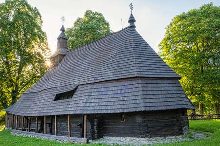 Wooden Greek Catholic Church of St. Peter and Paul, Topola village, Slovak republic, Europe. Travel destination. Standard-Bild