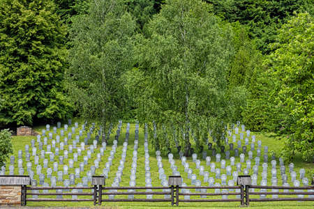 War cemetery, Huncovce village, Slovak republic, Europe. Travel destination. Standard-Bild