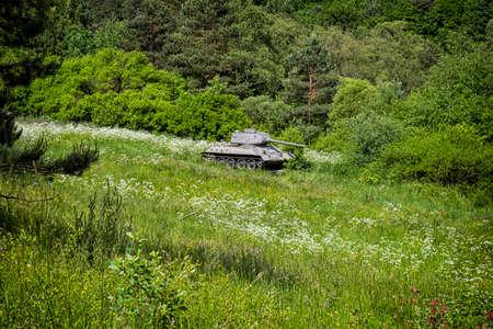 Historic russian tank T34 in The Death Valley, near Kapisova village, Slovak republic. World War II memorial.