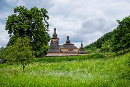 Wooden church in Mirola village, Slovak republic, Europe. Travel destination. Standard-Bild