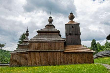 Wooden church of Saint Nicolas of Bodruzal, Slovak republic. Architectural theme. Travel destination. Standard-Bild