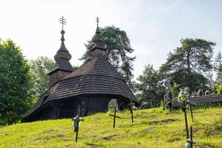 Wooden Greek Catholic Church St. Michael Archangel, Inovce village, Slovak republic, Europe. Travel destination.