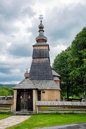 Wooden Greek Catholic Church St. Michael Archangel, Ladomirova village, Slovak republic, Europe. Travel destination.