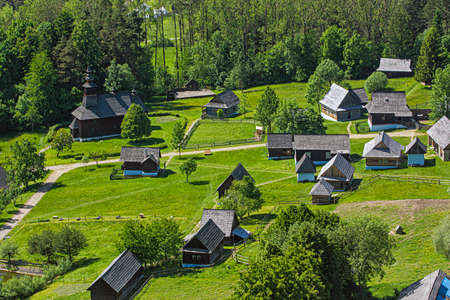 Open-air museum in Stara Lubovna, Slovak republic. Architectural theme. Aerial view.