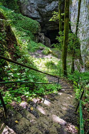 The abyss of Silicka ladnica, National Park of Slovak Karst, Slovak republic. Hiking theme.