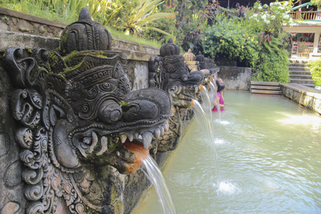 Hot holy springs in Bali, Indonesia. Swimming pool for ritual bathing.