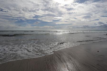 blu sky: Kuta beach, Bali, Indonesia. Indian ocean with waves and blu sky with clouds.