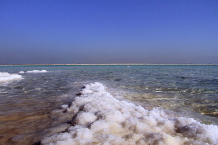 physical geography: Salt formation in coastline the  Dead Sea.