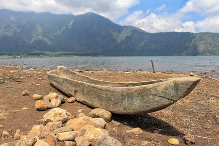 boat from a single tree trunk in Bali, Indonesia. Stock Photo