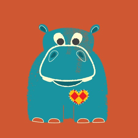 sewn: Valentine Letterpress Hippo Illustration