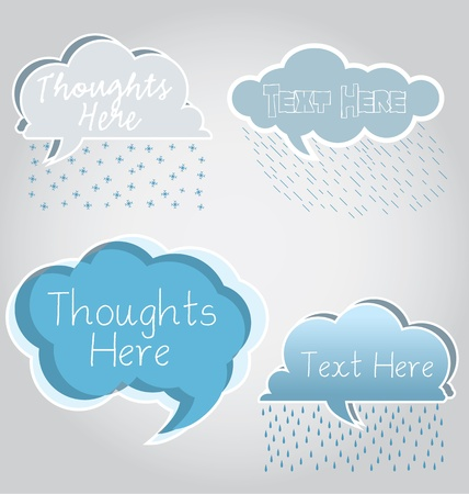burbujas de pensamiento: Nube de burbujas de pensamiento con lluvia y nieve