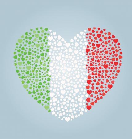 italian flag: Bandiera Italiana per il Cuore