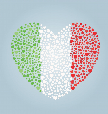 Italian Flag Heart Vector