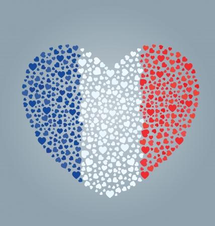 France Flag Heart Vector