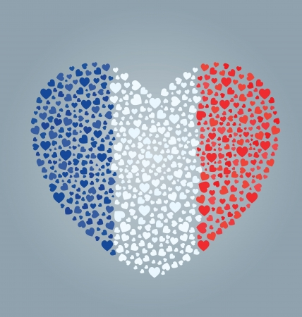 monochromatic: France Flag Heart Illustration
