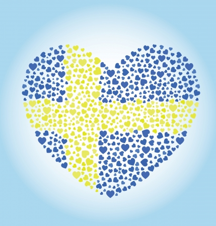 Sweden Flag Heart  イラスト・ベクター素材