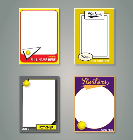 Softball trading card frames Vector