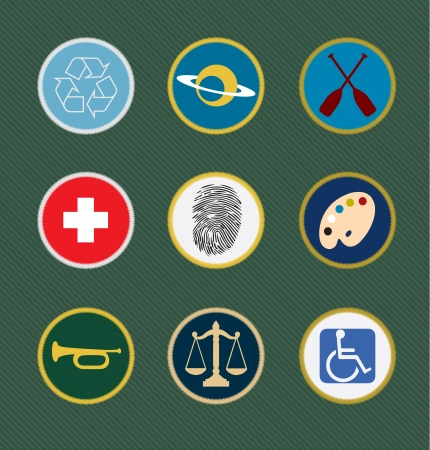 sewn: Boy Scout merit sewn badges