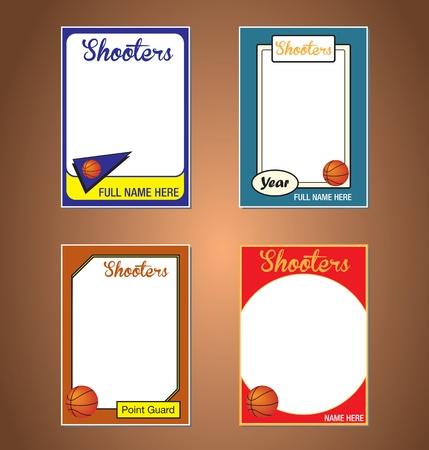 international basketball: Basketball Trading Card Frames Illustration