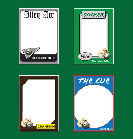 pool hall: Billiards Trading Card Picture Frames Illustration