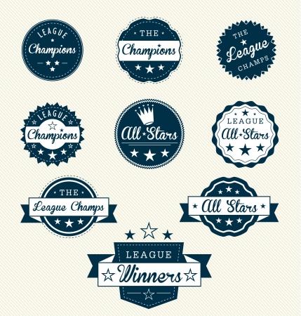 Vintage Labels Sport pour Allstars ou Champions Banque d'images - 14047616