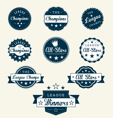 Vintage Sports Labels for AllstarsChampions Vector