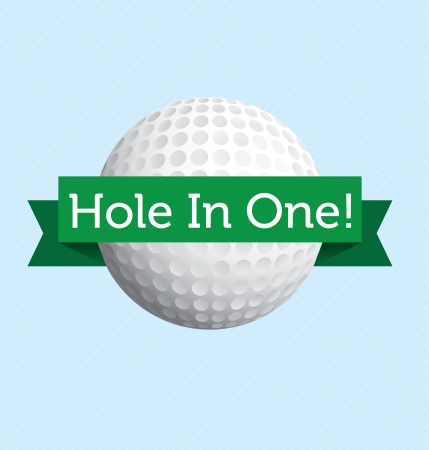 golf tee: Hole in one golf label Illustration